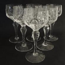 6 Vintage Stuart Crystal Camelot White Wine Hock Glasses