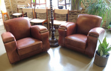 Pair of Art Deco Club Chairs in Leather