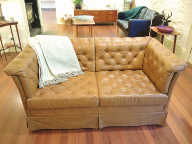 Vintage Deep Button Tan Leather 2 Seater Sofa or Couch