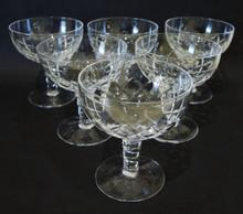 6 Vintage Stuart Crystal Beau Champagne Saucers Glasses #2