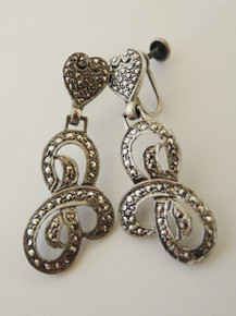 Art Deco Sterling Silver Marcasite PRK New York Drop Earrings
