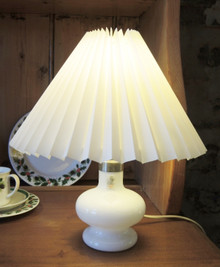 Vintage Danish Holmegaard Art Glass Christine Lamp with Pleated Shade