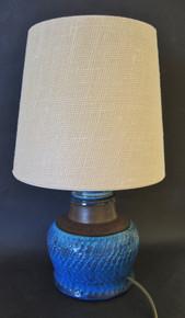 Vintage Danish Art Pottery HAK Herman Kahler Blue lamp