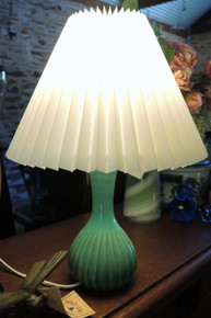 Vintage Danish Art Pottery Table Lamp Ribbed Green