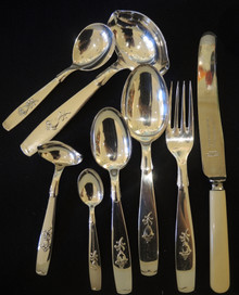 12 Person Vintage Danish ABSA Silverplate Tinkerbell Cutlery Set