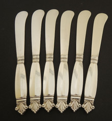 6 Vintage Danish Georg Jensen 150mm Sterling Silver Acanthus Pate Knives