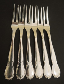 6 Vintage Andersen & Burchardt Blanka silver plate Small Meat, Cocktail, Oyster Forks.