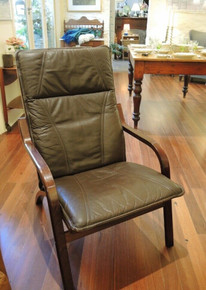 Vintage Danish Stouby Brown Leather Bentwood Easy Chair