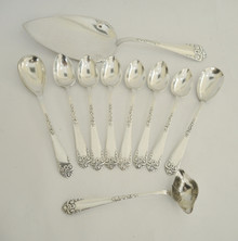 Antique 10 pce Danish Cake Serving Spoon Set Tendril & Vine