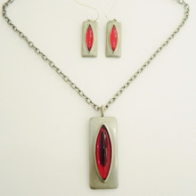 Vintage Jorgen Jensen Red Cats Eye Pendant & Earrings