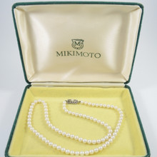 Vintage Silver Mikimoto Pearl Necklace 50cm with Box