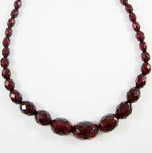 Vintage Faceted Cherry Amber Bakelite Necklace Graduated Beads