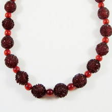 Vintage Rose Cut Cherry Amber Bakelite Necklace Graduated Beads