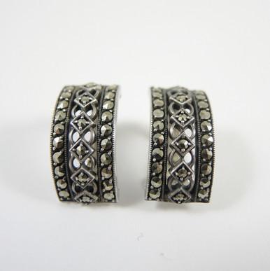 Art Deco Sterling Silver Marcasite Clip on Earrings c1940