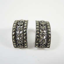 Art Deco Sterling Silver Marcasite Clip on Earrings c1940