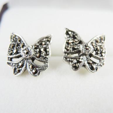 Vintage Art Deco Sterling Silver Marcasite Bow Earrings