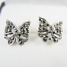 Vintage Art Deco Sterling Silver Marcasite Bow Earrings