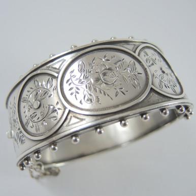 Antique Victorian Sterling Cuff Bangle Bracelet Birmingham 1883