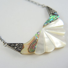 Vintage Mother Of Pearl and Sterling Silver Necklace