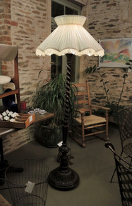 Art Deco Barley Twist Oak Hand Carved Floor Lamp with Shade