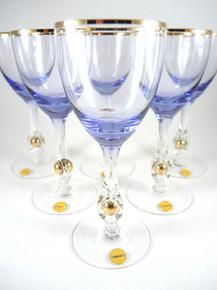 6 Vintage Lyngby Amethyst & Gold Ball In Stem White Wine Glasses