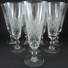 8 Danish Lyngby Wien Antik Cut Crystal Champagne Flutes Glasses