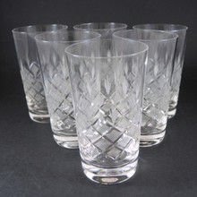 6 Danish Lyngby Wien Antik Cut Crystal European Wine Tumblers Glasses
