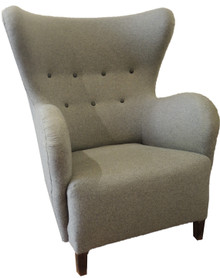 Vintage Danish Grey Woollen Upholstered Deep Button Wing Back Arm Chair