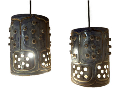 2 Vintage Mid Century Danish Stoneware Ceiling Lights-Sold.