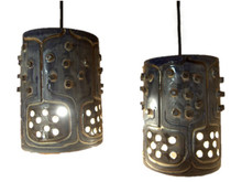 2 Vintage Mid Century Danish Pottery Pendant Ceiling lights