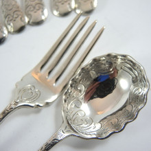 12pce Vintage Australian Rodd Jasmine Silver Plate Sweets Set