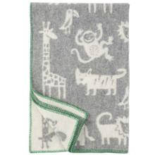 Brand New Klippan Lambs Wool Kids Jungle Blanket Grey 90cm x 130cm