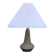 Vintage Danish Art Pottery Table Lamp Speckled Sage Green