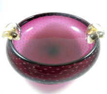 Vintage Large 24cm Murano Glass Bowl Ruby Bullicante with Gold Leaf