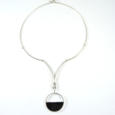 Vintage Danish Arne Johansen Sterling Silver Onyx Necklace