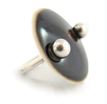 Silver and Ceramic Modernist Ring by Anton Michelsen for Royal Copenhagen