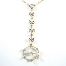 Antique Australian 9ct Gold Aquamarine & Seed Pearl Necklace - T Willis & Sons Melbourne