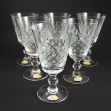 6 Danish Lyngby Eaton Fancy Cut Fine Crystal Red Wine Glasses