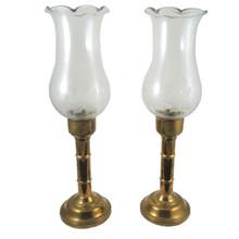 2 Vintage Danish Glinde Line Brass Candle or Storm Lanterns Glass Shades
