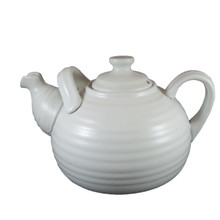 Vintage Large Mid Century Ribbed Pottery Grey White Teapot