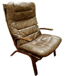 Vintage Danish Farstrup Brown Leather Bentwood Easy Chair #1