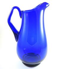 23cm Vintage Holmegaard Cobalt Blue Art Glass Jug