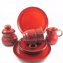 German Mid Century Modern Winterling Gepruft Red Tea or Coffee set for Two