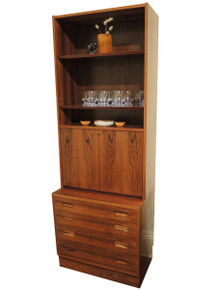 Mid Century Modern Danish Rosewood Bookcase Desk over Drawers
