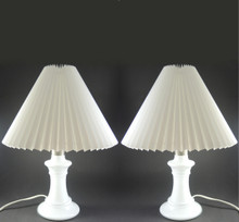 Vintage Holmegaard Michelle Lamps Michael Bang Pleated Shades.