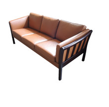 Vintage Danish Caramel 3 Seater Leather Couch