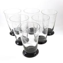 6 Vintage Art Deco Black Foot Tumblers of Glasses