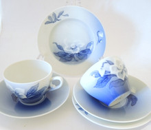 2 Vintage Danish Bing & Grondahl blue & white Christmas Rose Trios