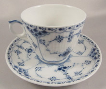 Pre 1923 Royal Copenhagen Blue Fluted Half Lace cup & saucer 1/719