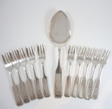 Art Nouveau Vintage Danish Victoria Silver Plate Cake Fork set 8 person